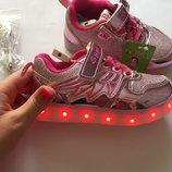Кроссовки USB розовые для девочки Свт