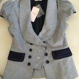 летний деловой костюм бренд брюки-лен р.36