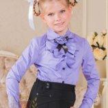 Блуза с длинным рукавом и розочкой сиреневая и салатовая Милана