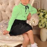 Распродажа р. 140 Салатовая блуза рубашка в школу девочкам Тм Милана
