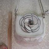 Сумка ROZA, 42х31х11,5 см белая роза, кожзам хороший PU, женская, девочка, на магните