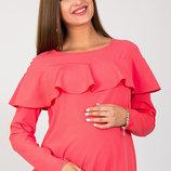 Реглан блуза для беременных и кормящих с воланом Avril