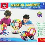 Конструктор магнитный 71 деталь 704A аналог Magformers магформерс квадраты треугольники