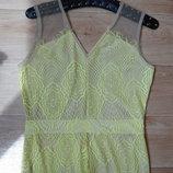 Красивое гипюровое платье в пол лимонного цвета .