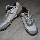 Кроссовки мужские 45 замшевые белые серые текстиль 29,5 см
