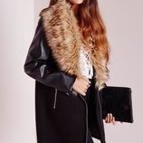 Пальто с кожаными рукавами,мех Missguided