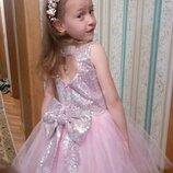Нарядные пышные выпускные детские платья с паетками