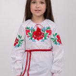 Вишиванка для дівчинки. Вышиванка для девочки с сочным, ярким узором. Размеры 122-146
