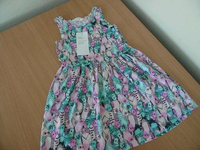 платье новое 2-4 г с бирками птички яркое котон H&M НМ