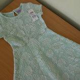 платье 6-7 л зеленое нарядное девочке детское новое кружево F&F c бирками