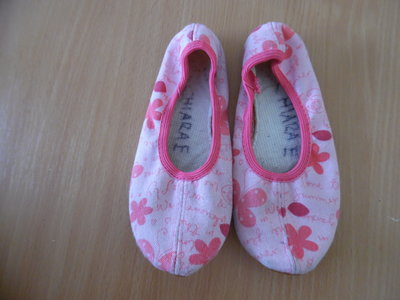 чешки 20 см стелька беж кожа балет Гимнастика Физкультура розовые цветы