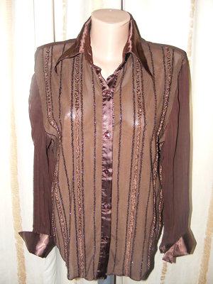 Коричневая блуза-жмаконка. Размер 48-54.
