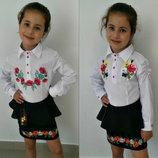 Рубашка-Вышиванка для девочки р.116-146 с длинным рукавом