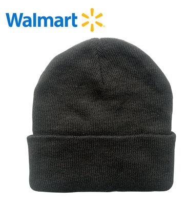 Шапки деми на 7-13 лет Walmart Америка черная однотонная двойная вязка