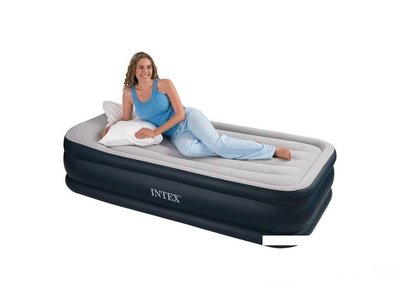 Надувная флокированная кровать матрас Intex 64132, серая