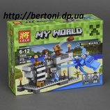 Конструктор 33026 Майнкрафт крепость с голубым драконом