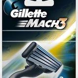 Gillette Mach3 2 картриджа в упаковке