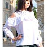Белая блузка с длинным рукавом Диамант