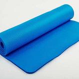 Каремат NBR 10мм с фиксирующей резинкой коврик для фитнеса 3357 Blue размер 1,83х0,8м