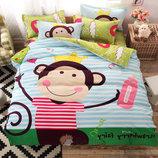 Полуторный двухсторонний комплект постельного белья для детей и подростков Monkey