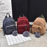 Стильные вельветовые мини рюкзаки с помпоном В Наличии