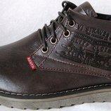 Levis зимние коричневые стильные кожаные мужские ботинки