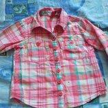 Рубашка клетка розовая 1,5 - 3 года