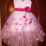 Нарядное платье Ассиметрия с лепестками цвет любой в наличии
