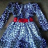 Нарядное платье в горошек 86-92 рост