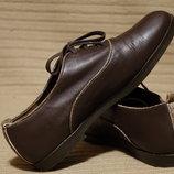 Лаконичные темно-коричневые туфли - оксфорды Yaya Hotiç Турция. 38 р.