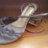 босоножки на низком каблуке, Monnari, серые, 40