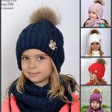 Шапка Принцесса С Натуральным Мехом Енот для девочки Зима Р. 4850 52 54 56.
