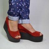 Стильные туфли с открытым носком натуральная кожа замша р.36-40 пудра электрик черный серебро никель
