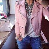 Куртка косуха Фабричный Китай розовая и черная