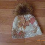 теплая шапка с натуральным мехом на 2-3-4 года