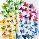 Бабочки, стрекозы на стену, декор комнат стикеры зеркальные бабочки 3D клевер