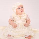 Набор крестильный для девочки, гипюр - молочный, белый