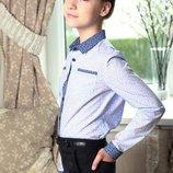 Блузка, рубашка голубая в огурцы девочке в наличии