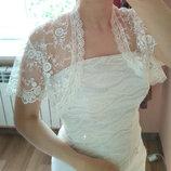 Размер M. Шикарное полу-прозрачное кружевное болеро на свадьбу