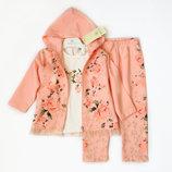 9-12м Люкс костюм 3в1 Baby Rose 74, 80 розовый персик