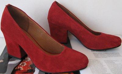 Nona женские качественные классические туфли замш красные взуття каблук 7 07757e9e64c13