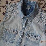 Джинсовая блуза с кружевом 40
