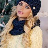 Комплект «Эустома» шапка и шарф-хомут Артикул 4604-7
