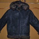 Натуральная зимняя Дублёнка куртка с капюшоном для мальчика 2-4-х лет