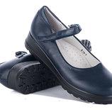 Туфли школьные для девочки синие под кожу, гладкие , K19-7, Тм Солнце , Размеры 32, 33, 34, 35, 3