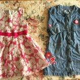 Marks&Spencer 3-6 лет. Джинсовое с аппликацией и пышное платьица. Джинсовое платье. MARKS&SPENSER