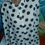 Стильная блуза горохи,р-р 20,на наш 54-56,рукав длинный или 3/4,сток