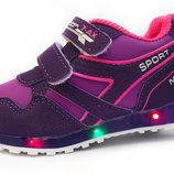 Кроссовки для девочки. В наличии 21,23,24 р.Подошва светится.