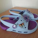 Кроксы аквашузы 18,5 см ветнамки Crocs Джибитсы обувь для пляжа бассейна голубые фиолетовые
