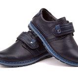 Туфли для мальчика синие на липучке, E1356, Тм EEB.B , Размеры 27, 28, 29, 30, 31, 32 Школьные
